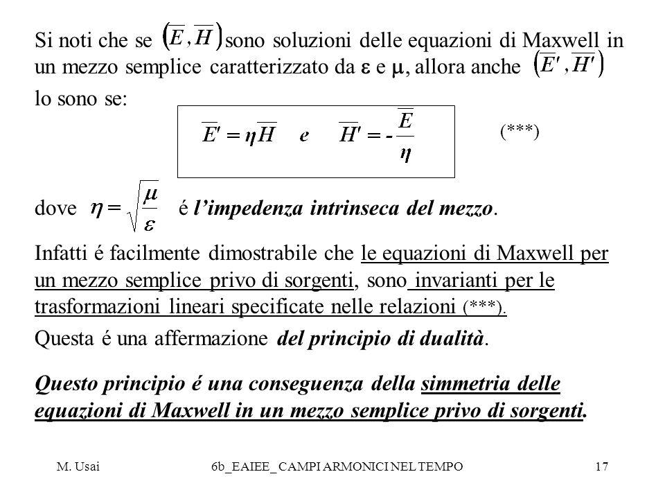 M. Usai6b_EAIEE_ CAMPI ARMONICI NEL TEMPO17 Si noti che se sono soluzioni delle equazioni di Maxwell in un mezzo semplice caratterizzato da e, allora