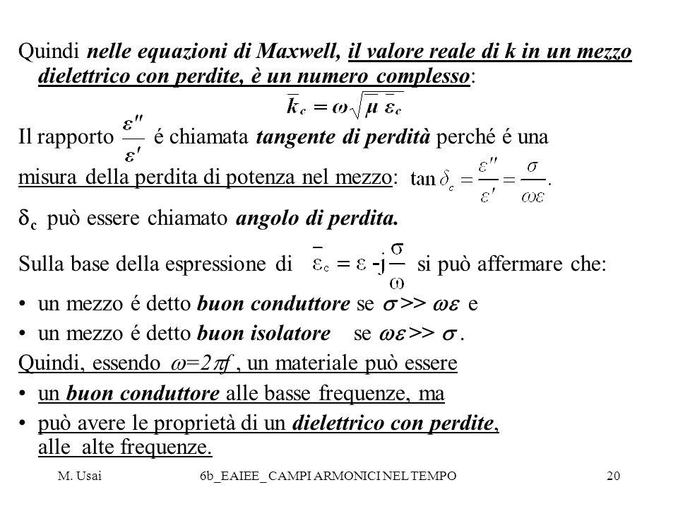 M. Usai6b_EAIEE_ CAMPI ARMONICI NEL TEMPO20 Quindi nelle equazioni di Maxwell, il valore reale di k in un mezzo dielettrico con perdite, è un numero c
