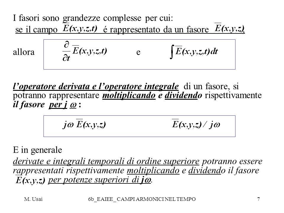M. Usai6b_EAIEE_ CAMPI ARMONICI NEL TEMPO7 I fasori sono grandezze complesse per cui: se il campo é rappresentato da un fasore, allora e loperatore de