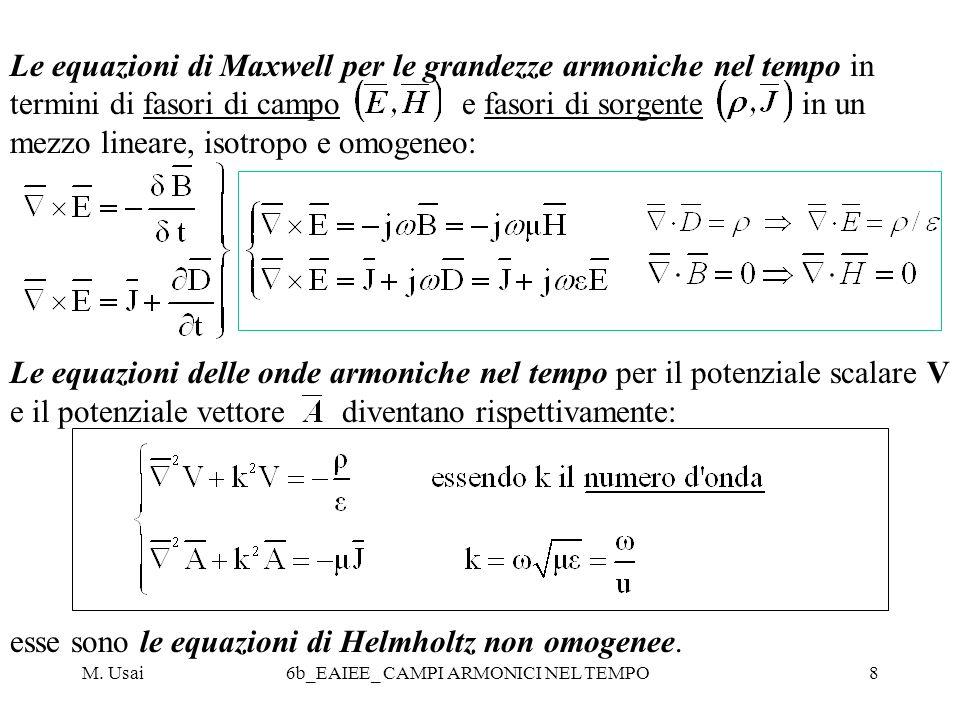 M. Usai6b_EAIEE_ CAMPI ARMONICI NEL TEMPO8 Le equazioni di Maxwell per le grandezze armoniche nel tempo in termini di fasori di campo e fasori di sorg