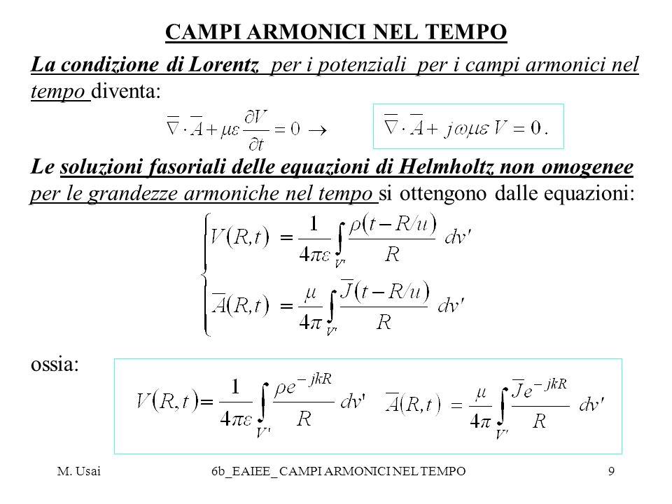M. Usai6b_EAIEE_ CAMPI ARMONICI NEL TEMPO9 CAMPI ARMONICI NEL TEMPO La condizione di Lorentz per i potenziali per i campi armonici nel tempo diventa: