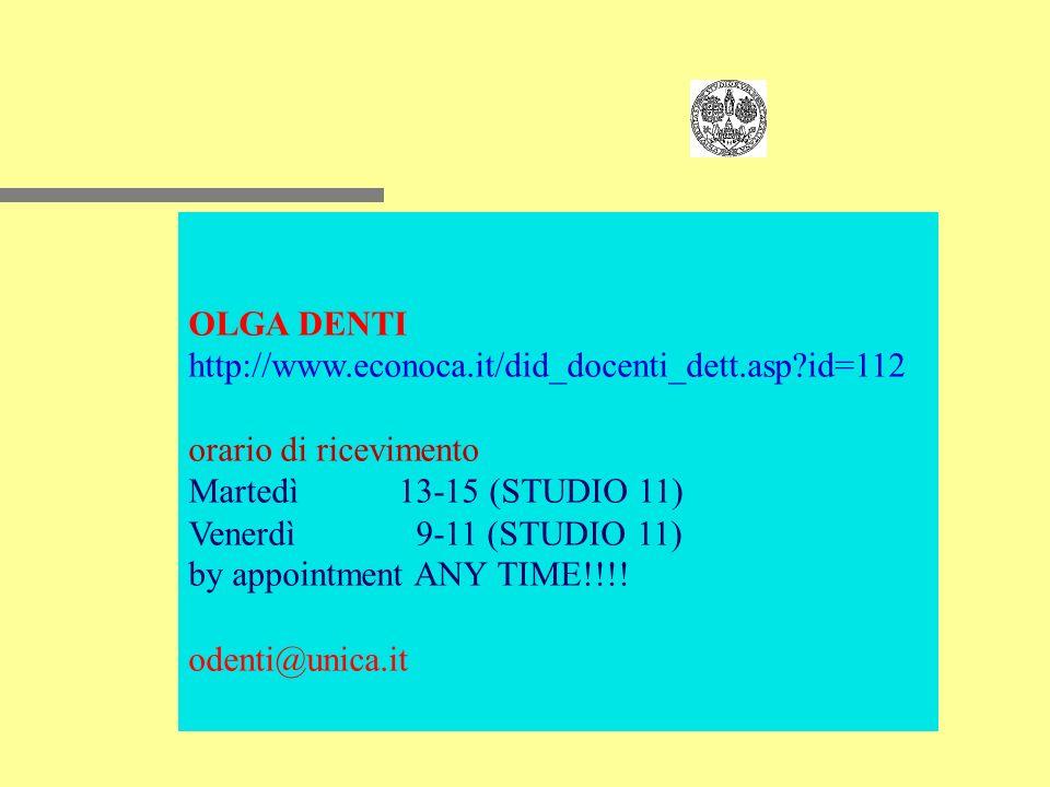 OLGA DENTI http://www.econoca.it/did_docenti_dett.asp id=112 orario di ricevimento Martedì13-15 (STUDIO 11) Venerdì 9-11 (STUDIO 11) by appointment ANY TIME!!!.