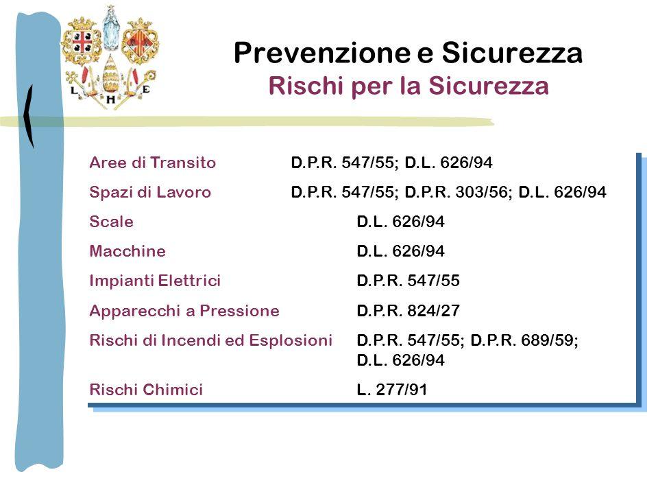 Prevenzione e Sicurezza Rischi per la Salute Esposizione ad Agenti Chimici L.