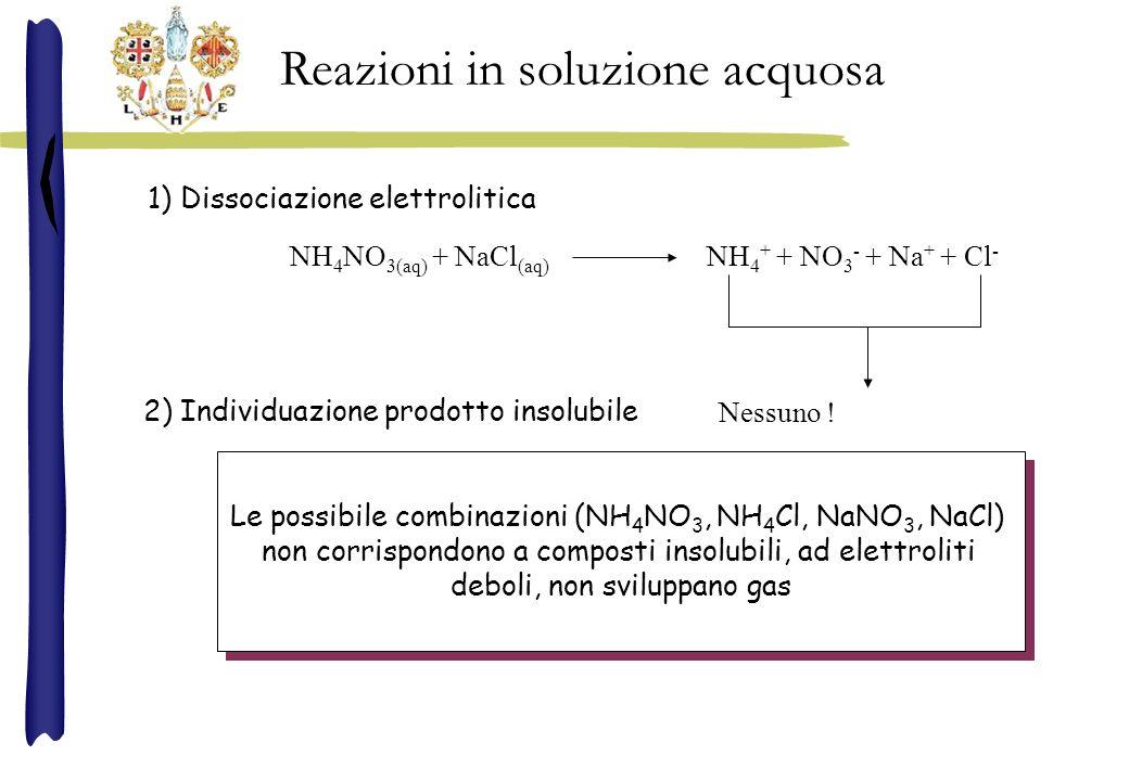 NH 4 NO 3(aq) + NaCl (aq) NH 4 + + NO 3 - + Na + + Cl - Nessuno ! 1) Dissociazione elettrolitica 2) Individuazione prodotto insolubile Reazioni in sol