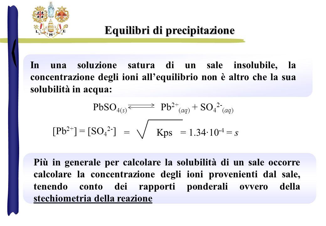 Equilibri di precipitazione In una soluzione satura di un sale insolubile, la concentrazione degli ioni allequilibrio non è altro che la sua solubilit