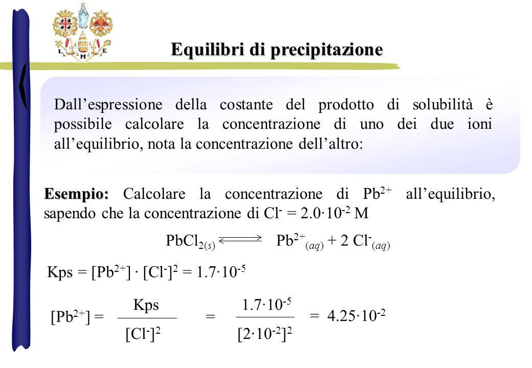 Dallespressione della costante del prodotto di solubilità è possibile calcolare la concentrazione di uno dei due ioni allequilibrio, nota la concentra