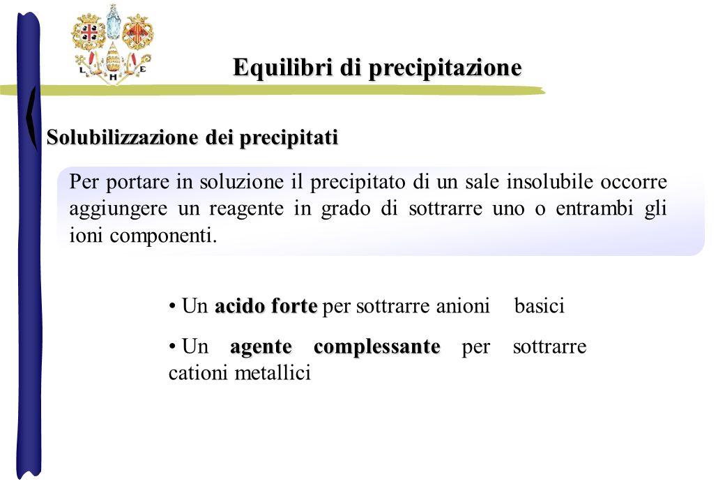 Equilibri di precipitazione Solubilizzazione dei precipitati Per portare in soluzione il precipitato di un sale insolubile occorre aggiungere un reage