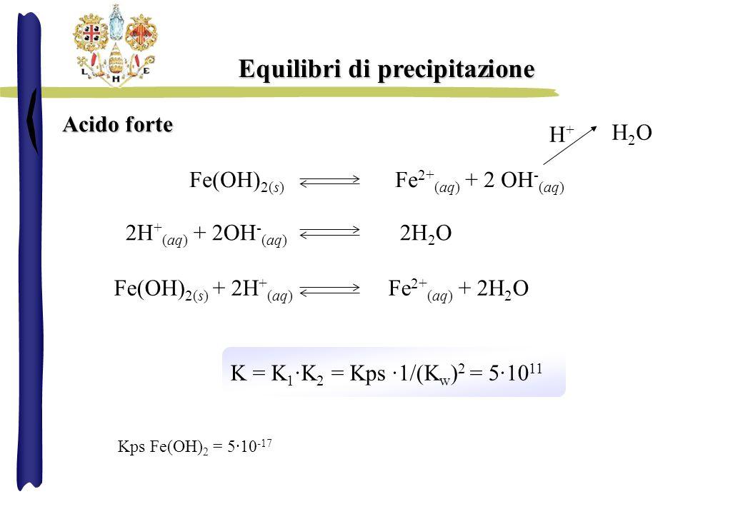 Equilibri di precipitazione Acido forte Fe(OH) 2(s) Fe 2+ (aq) + 2 OH - (aq) H2OH2O H+H+ 2H + (aq) + 2OH - (aq) 2H 2 O Fe(OH) 2(s) + 2H + (aq) Fe 2+ (