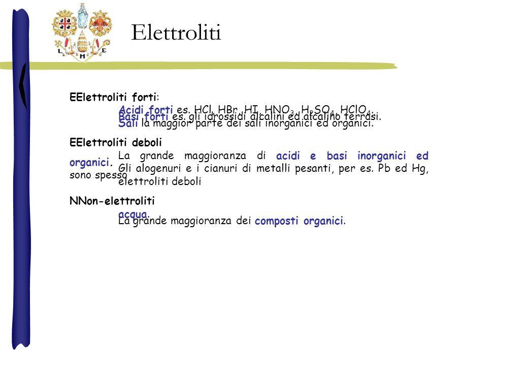EElettroliti forti: Acidi forti es. HCl, HBr, HI, HNO 3, H 2 SO 4, HClO 4. Basi forti es. gli idrossidi alcalini ed alcalino terrosi. Sali la maggior