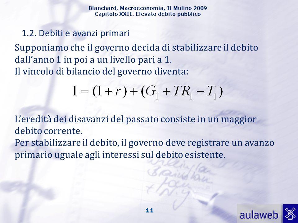 Blanchard, Macroeconomia, Il Mulino 2009 Capitolo XXII. Elevato debito pubblico 11 1.2. Debiti e avanzi primari Supponiamo che il governo decida di st