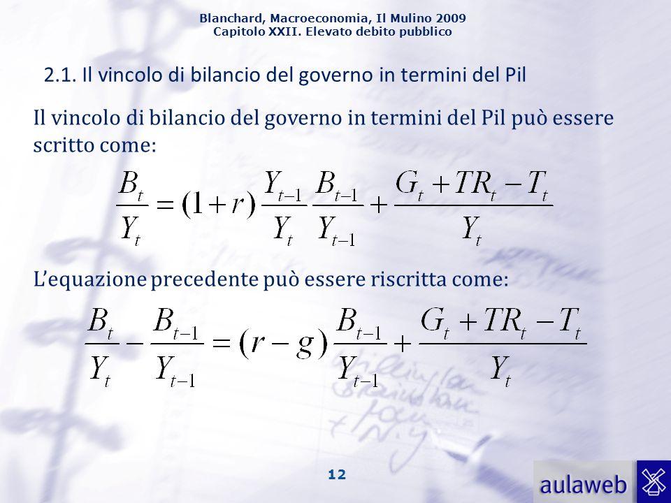 Blanchard, Macroeconomia, Il Mulino 2009 Capitolo XXII. Elevato debito pubblico 12 2.1. Il vincolo di bilancio del governo in termini del Pil Il vinco