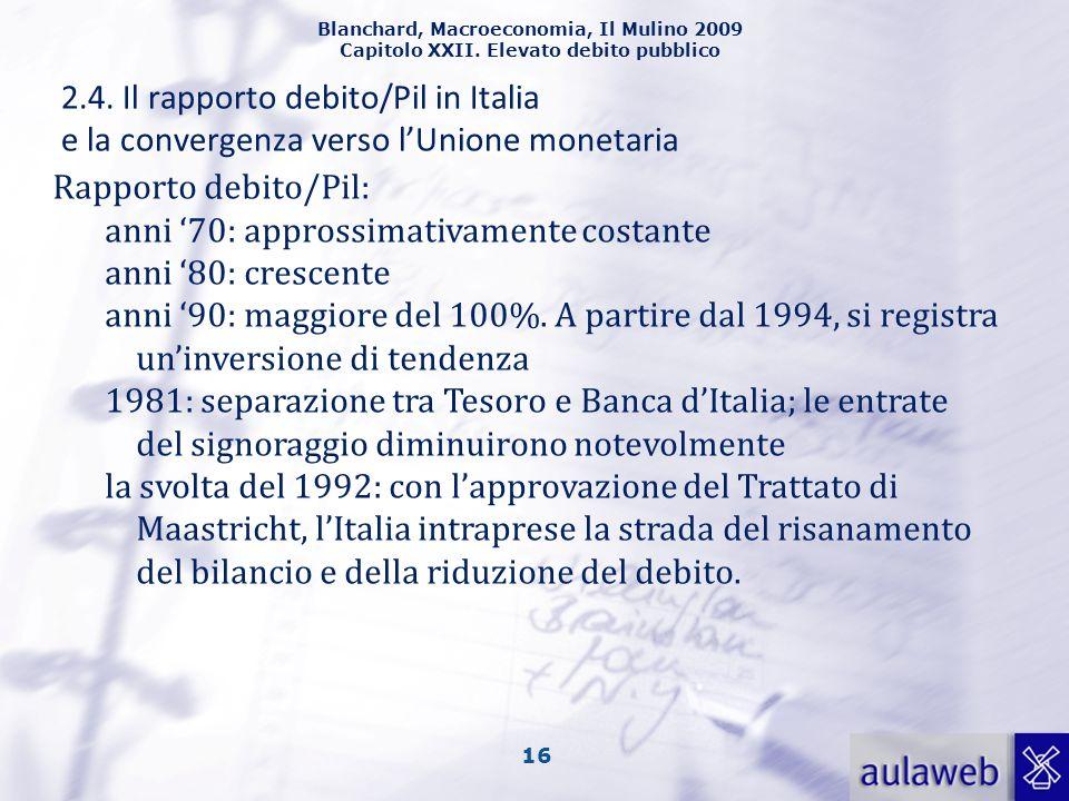 Blanchard, Macroeconomia, Il Mulino 2009 Capitolo XXII. Elevato debito pubblico 16 2.4. Il rapporto debito/Pil in Italia e la convergenza verso lUnion