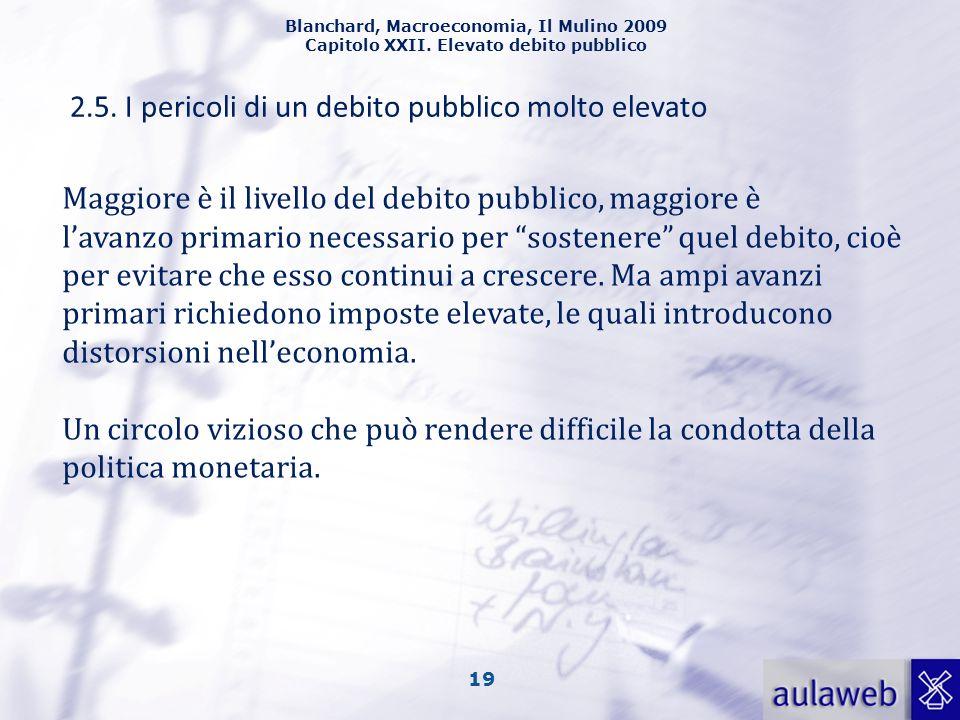 Blanchard, Macroeconomia, Il Mulino 2009 Capitolo XXII. Elevato debito pubblico 19 2.5. I pericoli di un debito pubblico molto elevato Maggiore è il l