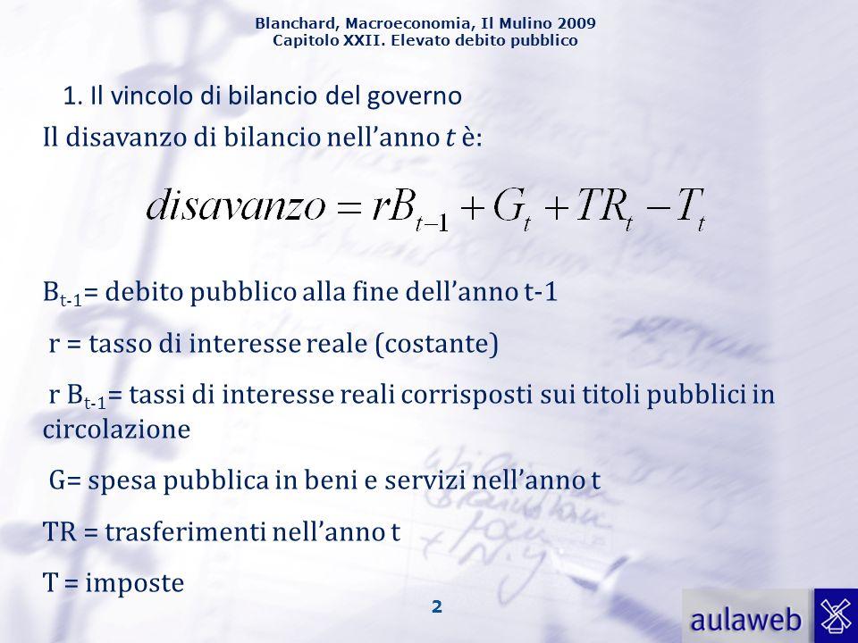 Blanchard, Macroeconomia, Il Mulino 2009 Capitolo XXII. Elevato debito pubblico 2 1. Il vincolo di bilancio del governo Il disavanzo di bilancio nella