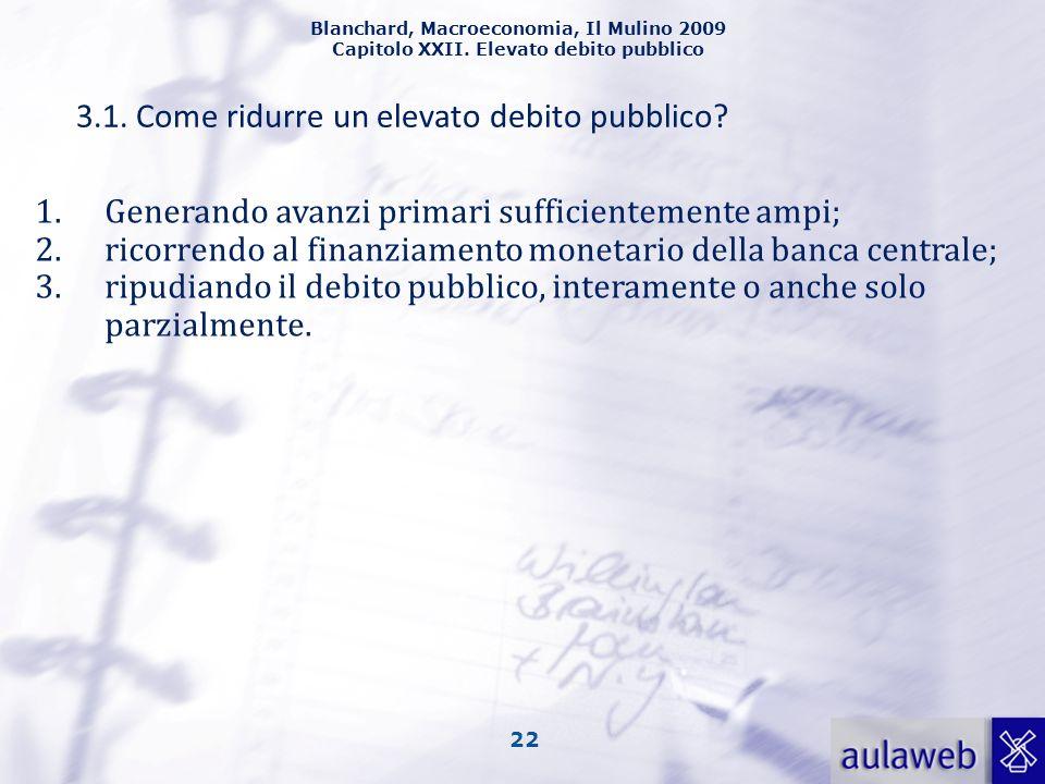 Blanchard, Macroeconomia, Il Mulino 2009 Capitolo XXII. Elevato debito pubblico 22 3.1. Come ridurre un elevato debito pubblico? 1.Generando avanzi pr