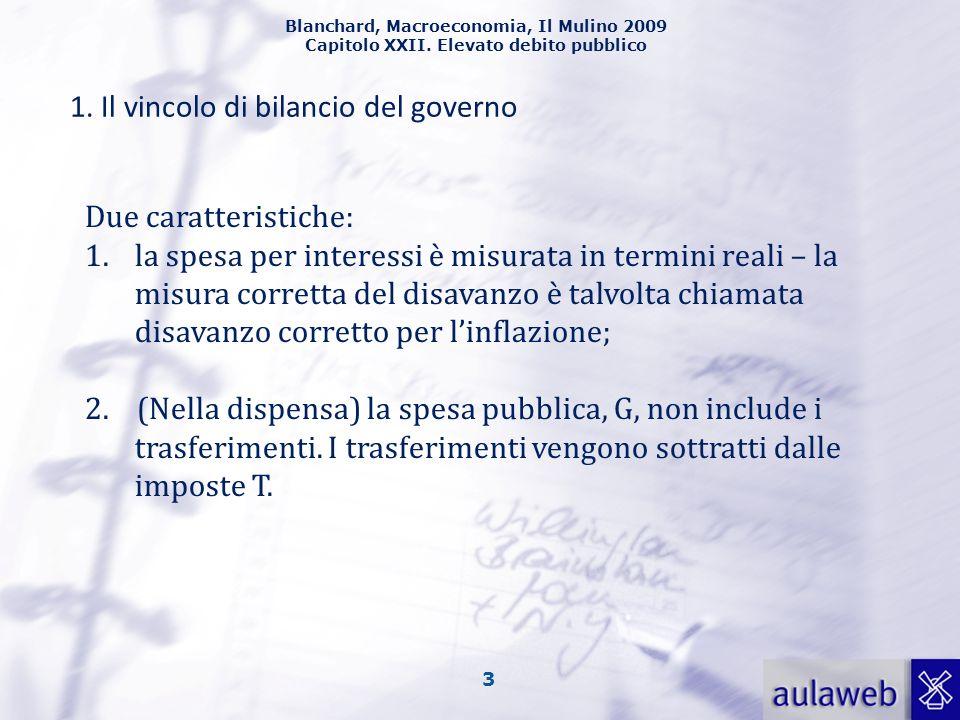 Blanchard, Macroeconomia, Il Mulino 2009 Capitolo XXII. Elevato debito pubblico 3 1. Il vincolo di bilancio del governo Due caratteristiche: 1.la spes