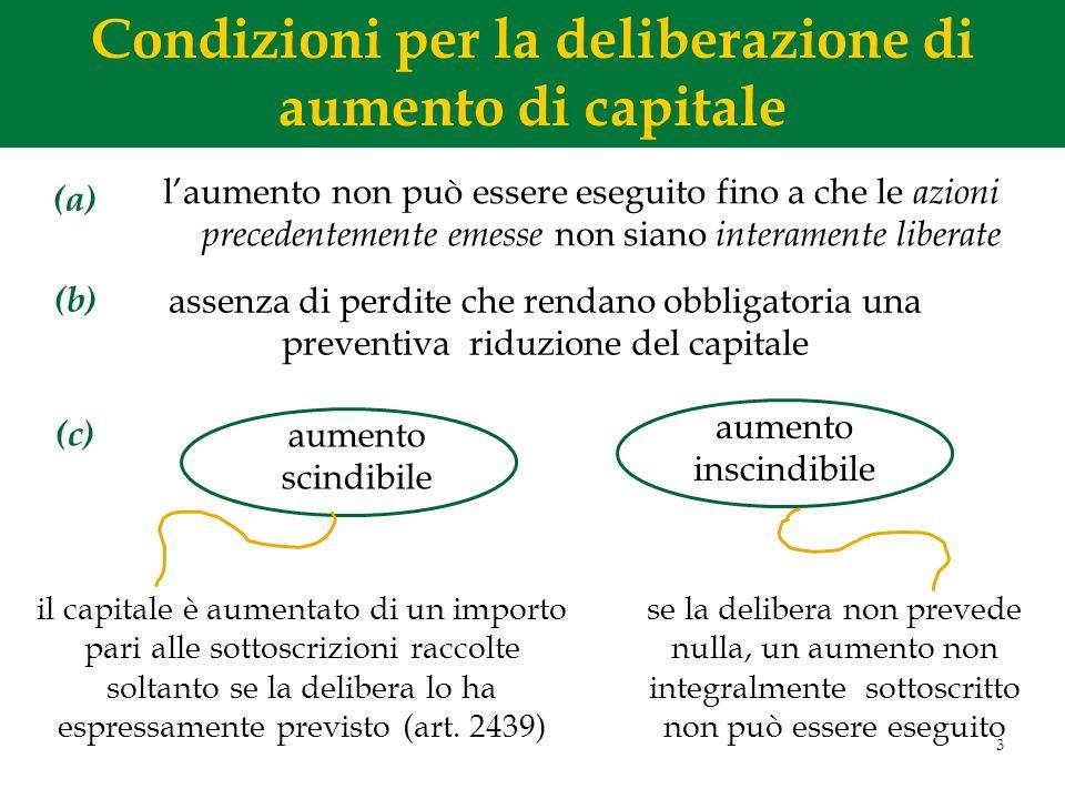 3 Condizioni per la deliberazione di aumento di capitale laumento non può essere eseguito fino a che le azioni precedentemente emesse non siano intera