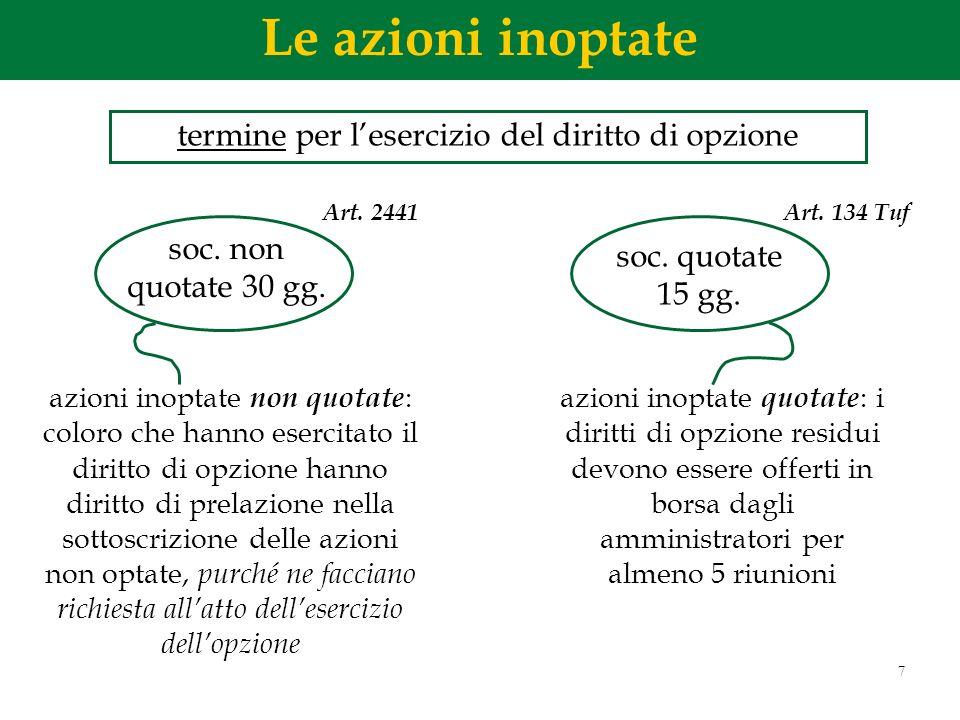 7 azioni inoptate non quotate : coloro che hanno esercitato il diritto di opzione hanno diritto di prelazione nella sottoscrizione delle azioni non op