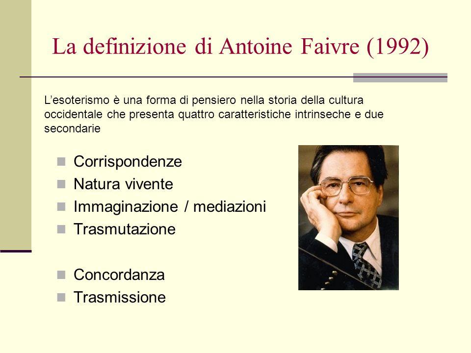 La definizione di Antoine Faivre (1992) Corrispondenze Natura vivente Immaginazione / mediazioni Trasmutazione Concordanza Trasmissione Lesoterismo è