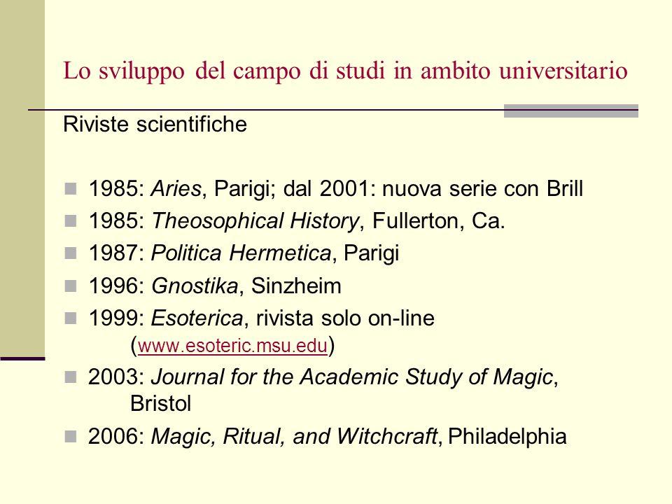 Lo sviluppo del campo di studi in ambito universitario Riviste scientifiche 1985: Aries, Parigi; dal 2001: nuova serie con Brill 1985: Theosophical Hi
