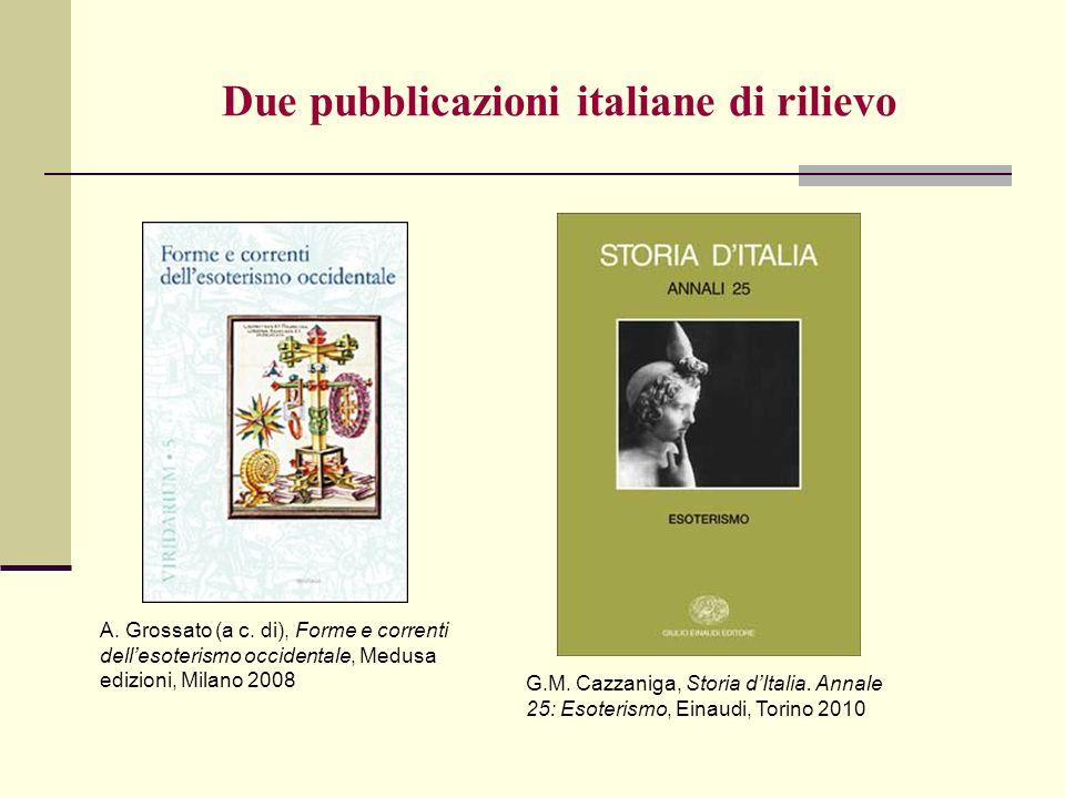 Due pubblicazioni italiane di rilievo A. Grossato (a c. di), Forme e correnti dellesoterismo occidentale, Medusa edizioni, Milano 2008 G.M. Cazzaniga,