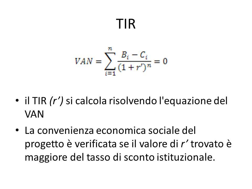 TIR il TIR (r) si calcola risolvendo l equazione del VAN La convenienza economica sociale del progetto è verificata se il valore di r trovato è maggiore del tasso di sconto istituzionale.