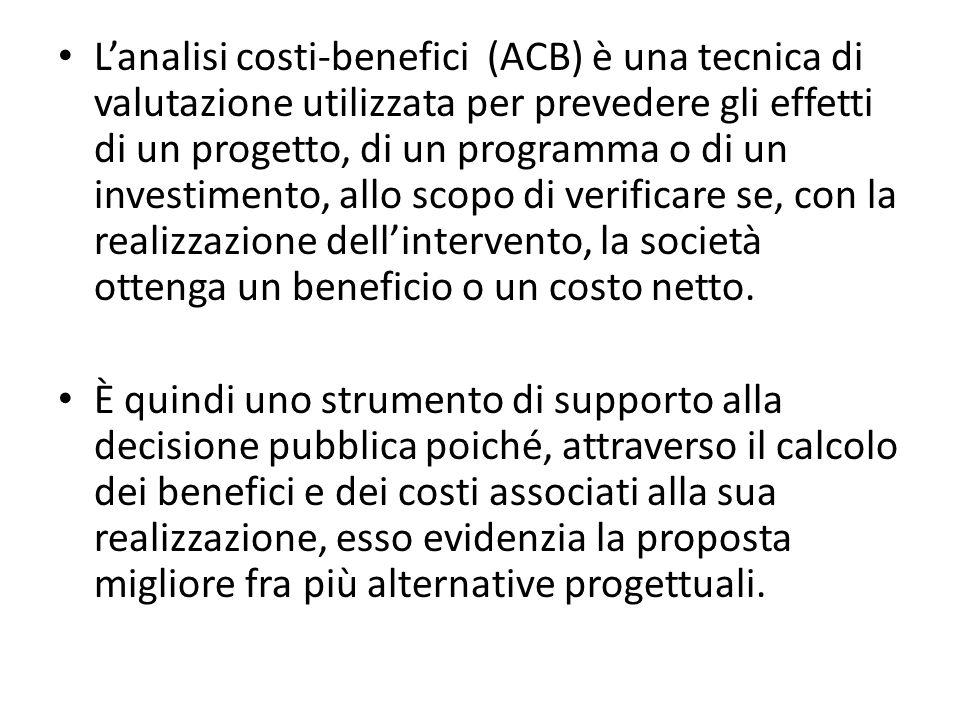 In pratica, lACB si basa sullindividuazione dei costi e dei benefici in termini monetari apportati alla società da un intervento.