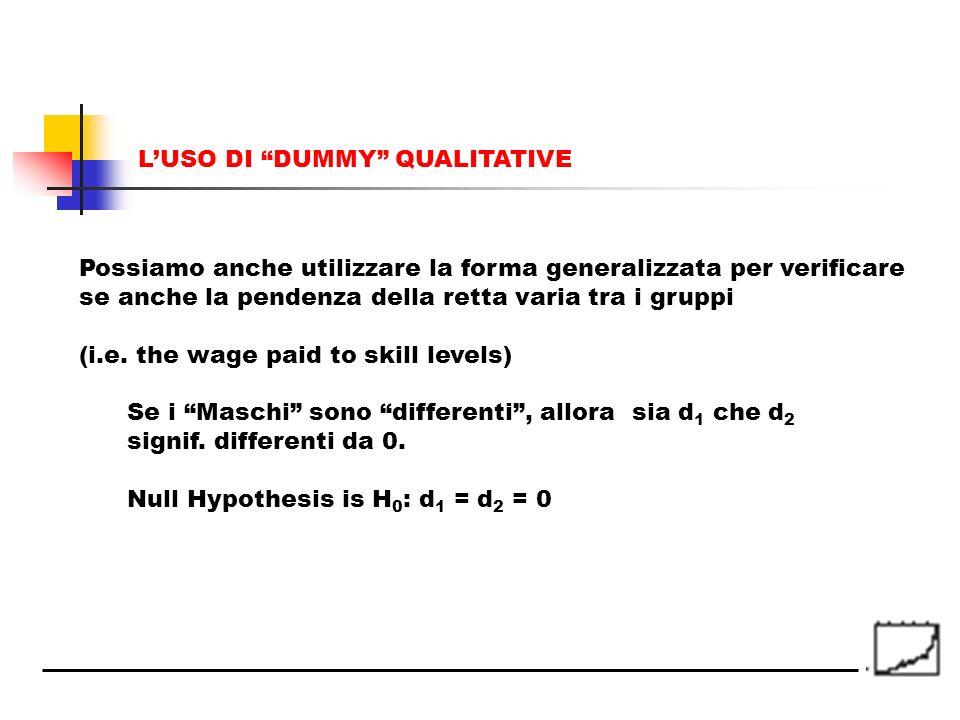 Possiamo anche utilizzare la forma generalizzata per verificare se anche la pendenza della retta varia tra i gruppi (i.e. the wage paid to skill level