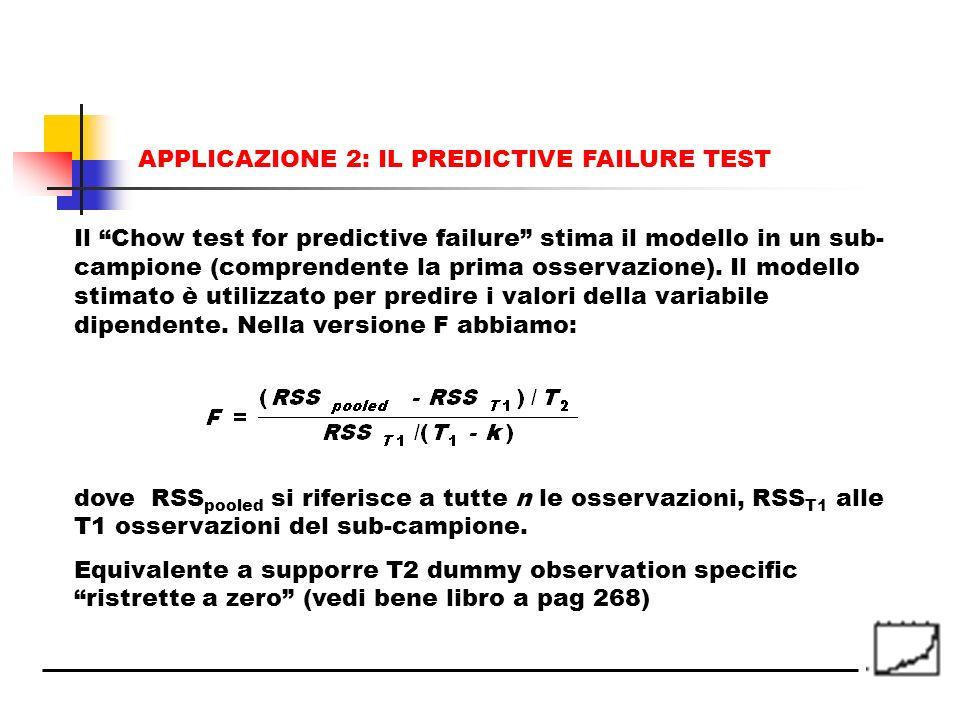 Il Chow test for predictive failure stima il modello in un sub- campione (comprendente la prima osservazione). Il modello stimato è utilizzato per pre