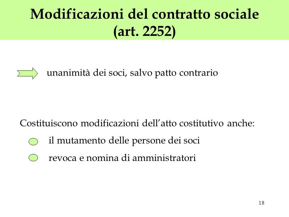 18 Modificazioni del contratto sociale (art. 2252) Costituiscono modificazioni dellatto costitutivo anche: il mutamento delle persone dei soci revoca