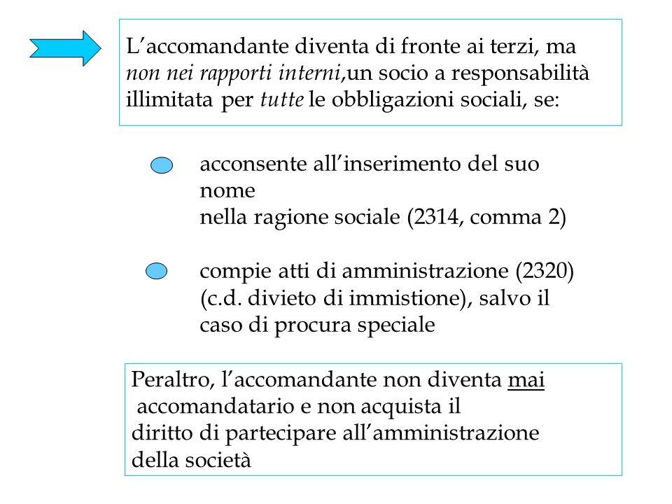 23 Laccomandante diventa di fronte ai terzi, ma non nei rapporti interni,un socio a responsabilità illimitata per tutte le obbligazioni sociali, se: P
