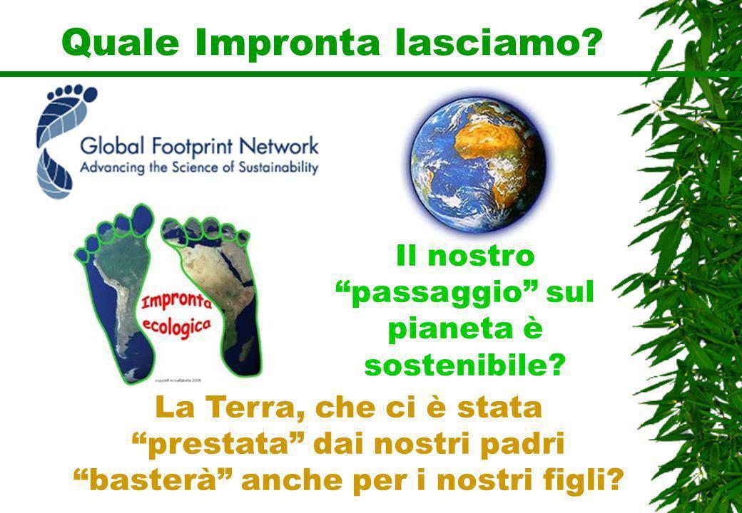 Quale Impronta lasciamo? Il nostro passaggio sul pianeta è sostenibile? La Terra, che ci è stata prestata dai nostri padri basterà anche per i nostri