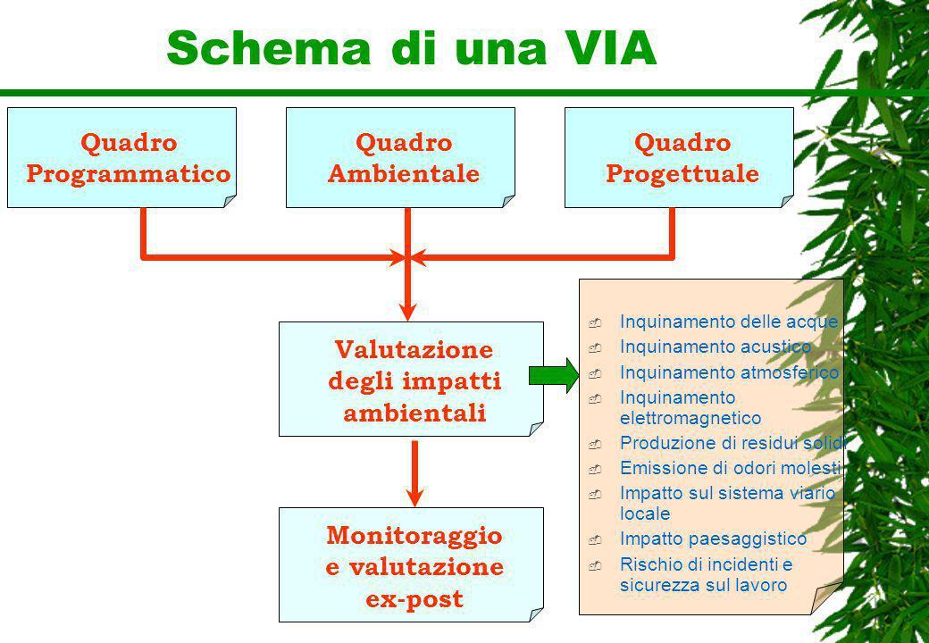 Schema di una VIA Quadro Programmatico Valutazione degli impatti ambientali Quadro Ambientale Quadro Progettuale Monitoraggio e valutazione ex-post In