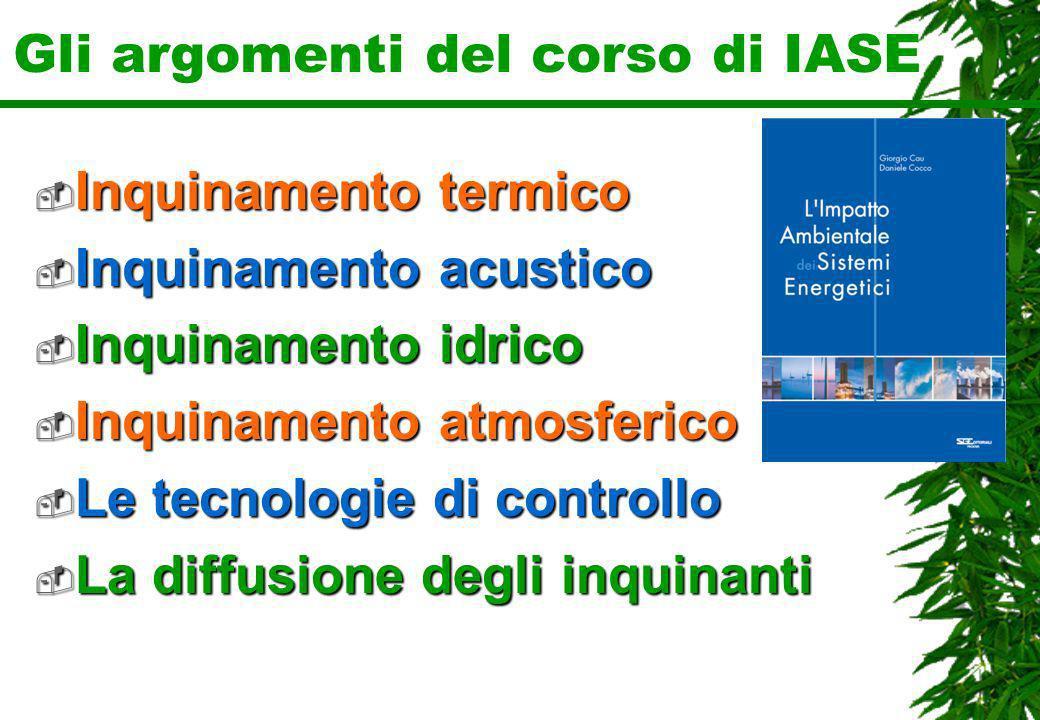 Gli argomenti del corso di IASE Inquinamento termico Inquinamento termico Inquinamento acustico Inquinamento acustico Inquinamento idrico Inquinamento