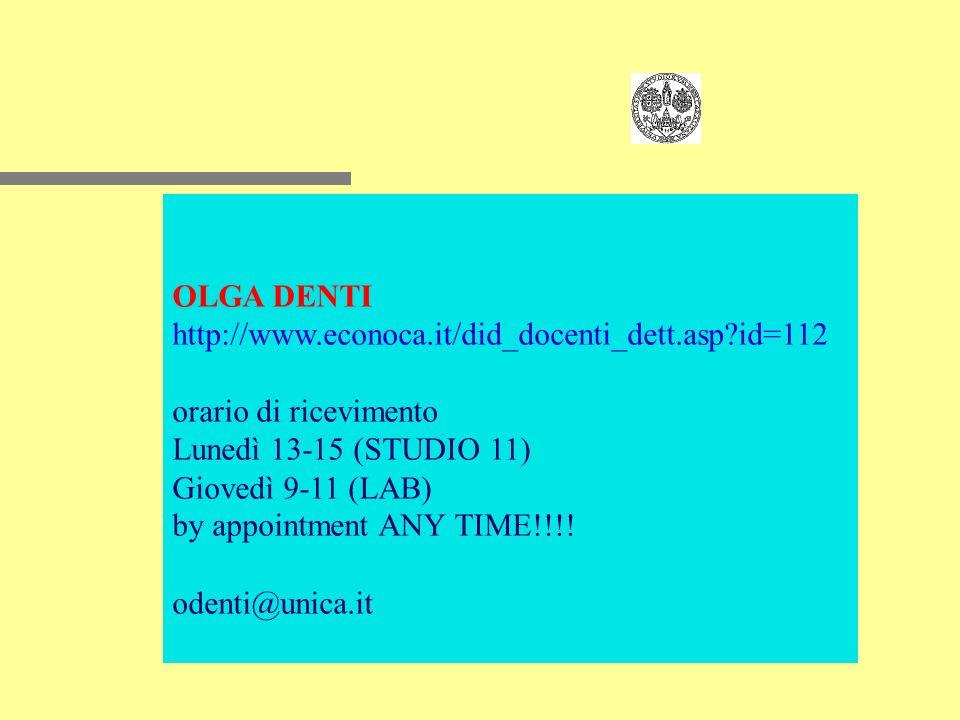 OLGA DENTI http://www.econoca.it/did_docenti_dett.asp?id=112 orario di ricevimento Lunedì 13-15 (STUDIO 11) Giovedì 9-11 (LAB) by appointment ANY TIME!!!.