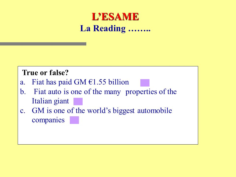 LESAME La Reading …….. True or false. a.Fiat has paid GM 1.55 billion b.