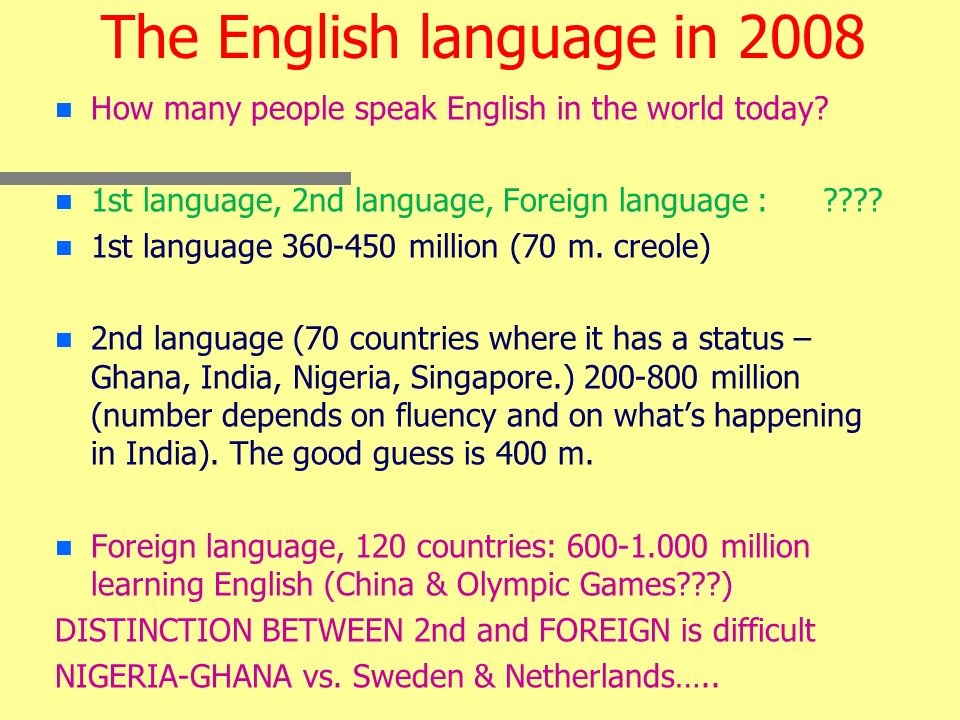 The English language in 2008 n n How many people speak English in the world today.