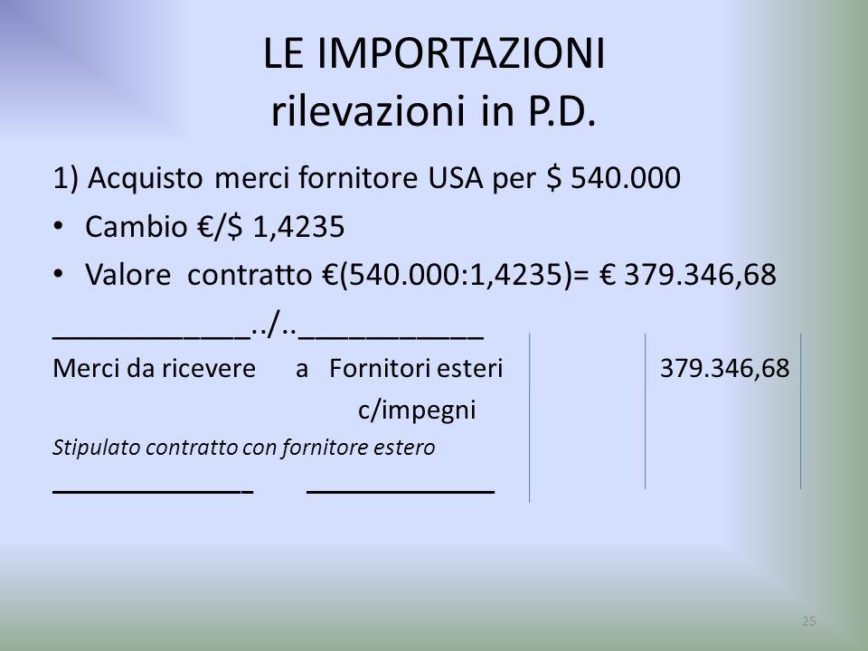 LE IMPORTAZIONI rilevazioni in P.D. 1) Acquisto merci fornitore USA per $ 540.000 Cambio /$ 1,4235 Valore contratto (540.000:1,4235)= 379.346,68 _____