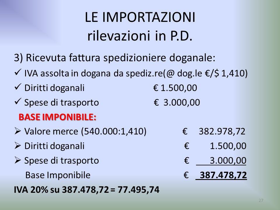 LE IMPORTAZIONI rilevazioni in P.D. 3) Ricevuta fattura spedizioniere doganale: IVA assolta in dogana da spediz.re(@ dog.le /$ 1,410) Diritti doganali