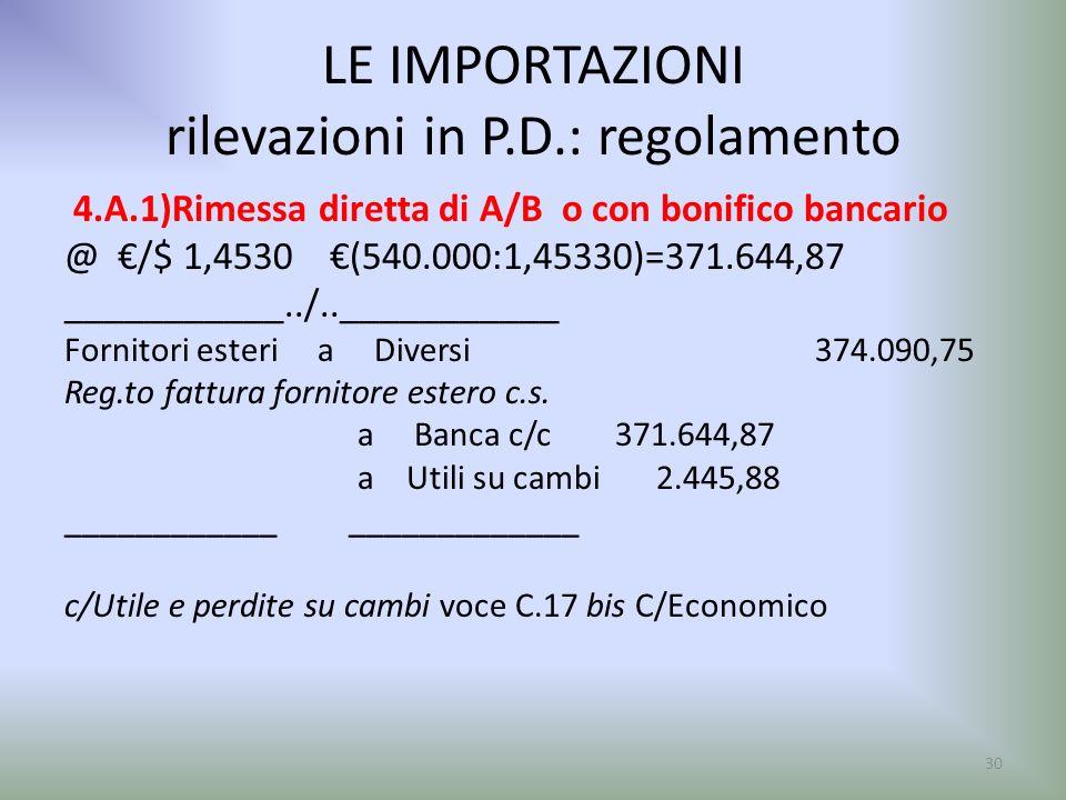 LE IMPORTAZIONI rilevazioni in P.D.: regolamento 4.A.1)Rimessa diretta di A/B o con bonifico bancario @ /$ 1,4530 (540.000:1,45330)=371.644,87 _______