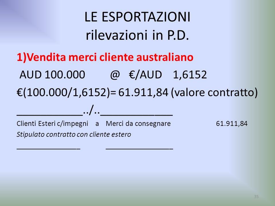 LE ESPORTAZIONI rilevazioni in P.D. 1)Vendita merci cliente australiano AUD 100.000 @ /AUD 1,6152 (100.000/1,6152)= 61.911,84 (valore contratto) _____