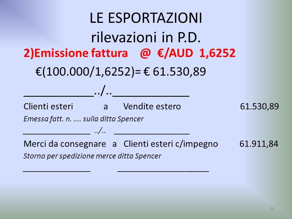 LE ESPORTAZIONI rilevazioni in P.D. 2)Emissione fattura @ /AUD 1,6252 (100.000/1,6252)= 61.530,89 ___________../..____________ Clienti esteri a Vendit