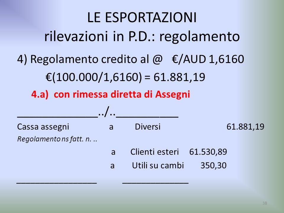 LE ESPORTAZIONI rilevazioni in P.D.: regolamento 4) Regolamento credito al @ /AUD 1,6160 (100.000/1,6160) = 61.881,19 4.a) con rimessa diretta di Asse
