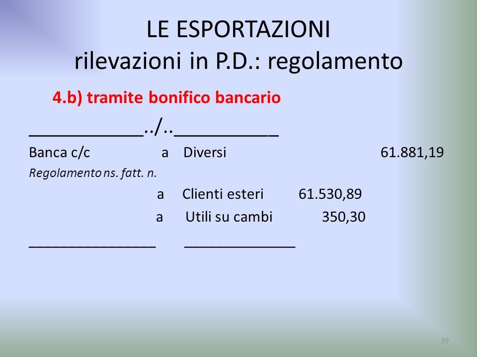 LE ESPORTAZIONI rilevazioni in P.D.: regolamento 4.b) tramite bonifico bancario ___________../..__________ Banca c/c a Diversi 61.881,19 Regolamento n