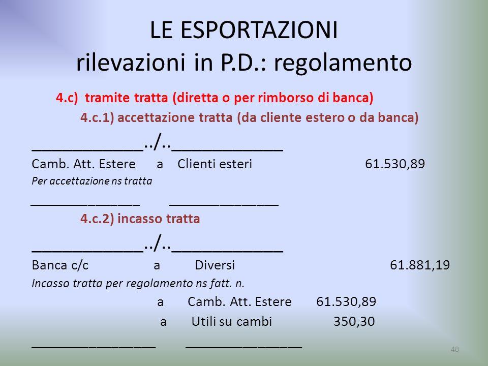 LE ESPORTAZIONI rilevazioni in P.D.: regolamento 4.c) tramite tratta (diretta o per rimborso di banca) 4.c.1) accettazione tratta (da cliente estero o