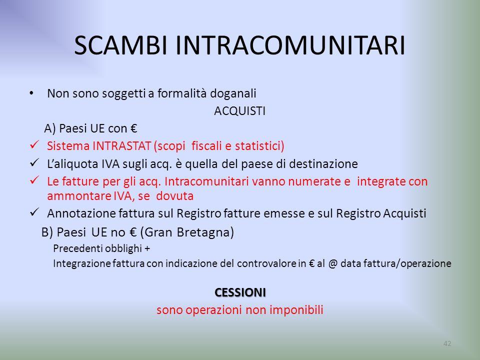 SCAMBI INTRACOMUNITARI Non sono soggetti a formalità doganali ACQUISTI A) Paesi UE con Sistema INTRASTAT (scopi fiscali e statistici) Laliquota IVA su