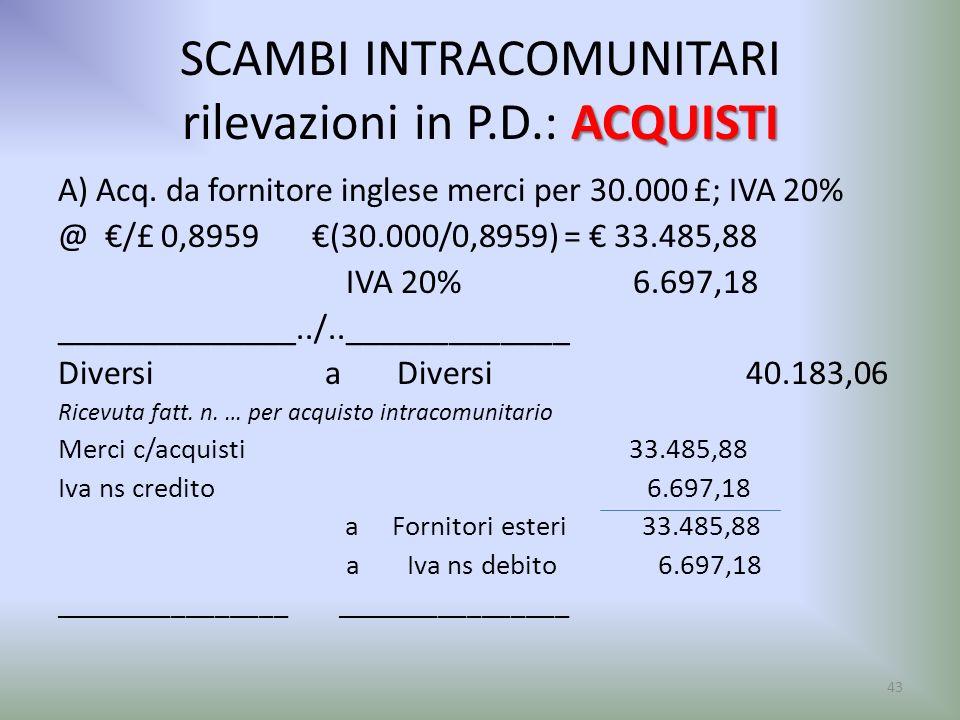 ACQUISTI SCAMBI INTRACOMUNITARI rilevazioni in P.D.: ACQUISTI A) Acq. da fornitore inglese merci per 30.000 £; IVA 20% @ /£ 0,8959 (30.000/0,8959) = 3
