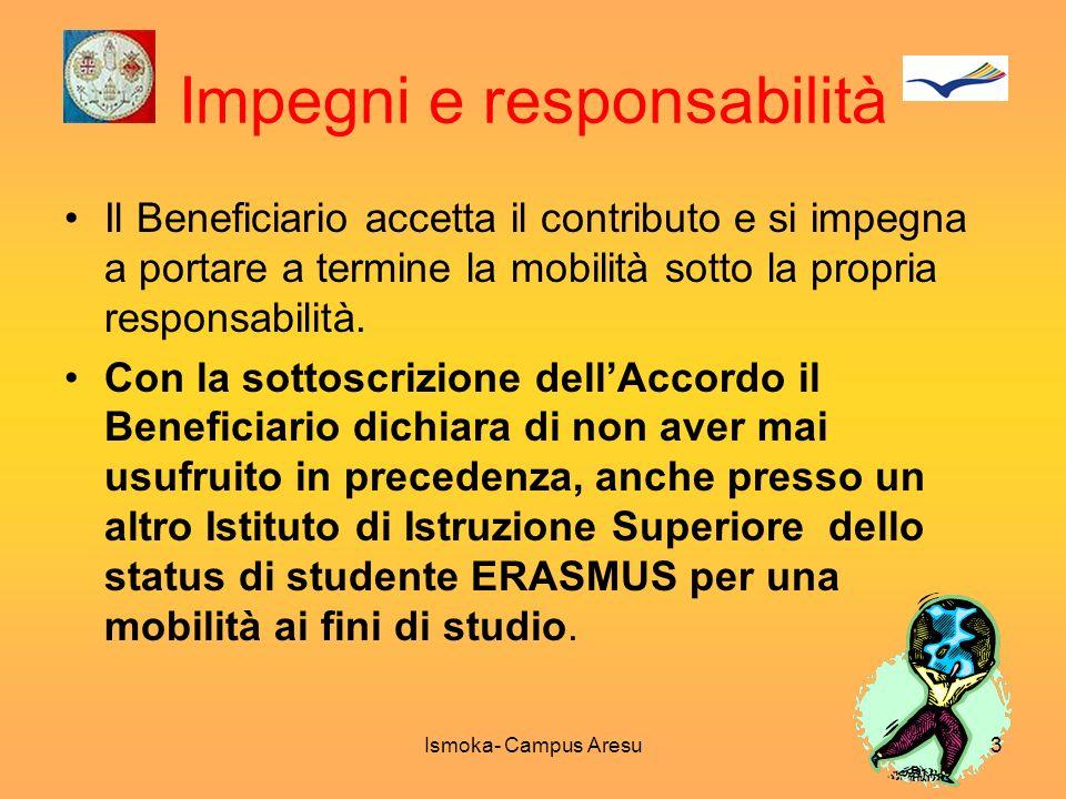 Impegni e responsabilità Il Beneficiario accetta il contributo e si impegna a portare a termine la mobilità sotto la propria responsabilità. Con la so