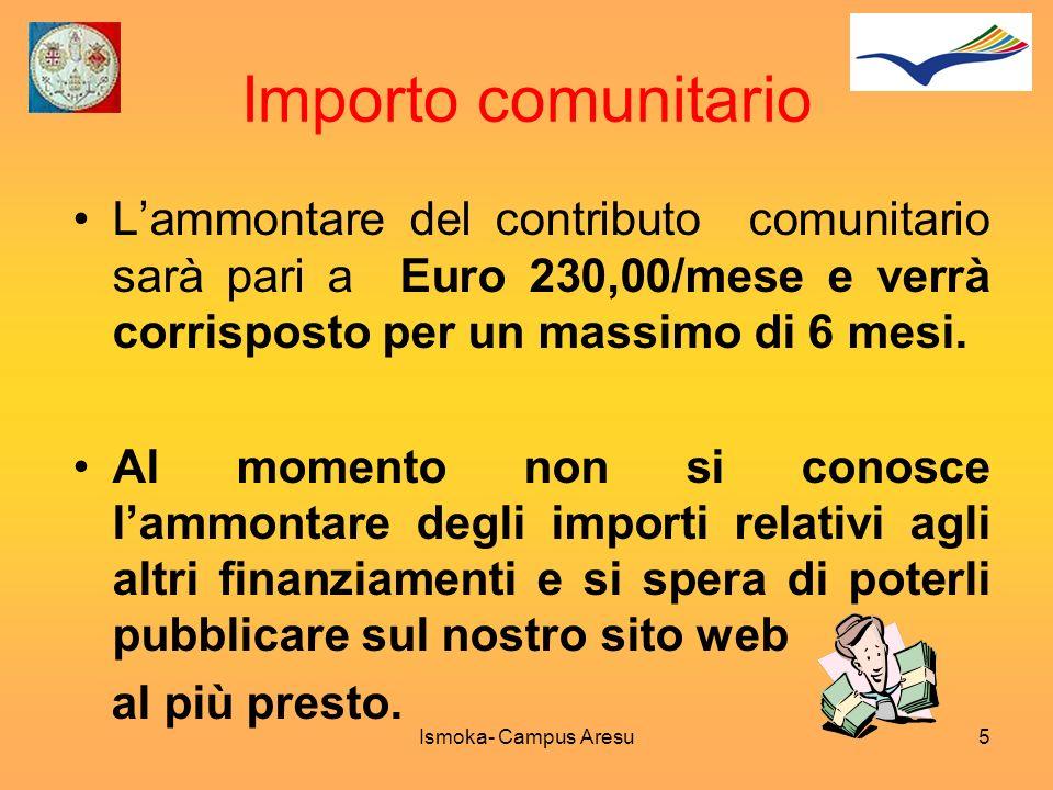 Importo comunitario Lammontare del contributo comunitario sarà pari a Euro 230,00/mese e verrà corrisposto per un massimo di 6 mesi. Al momento non si