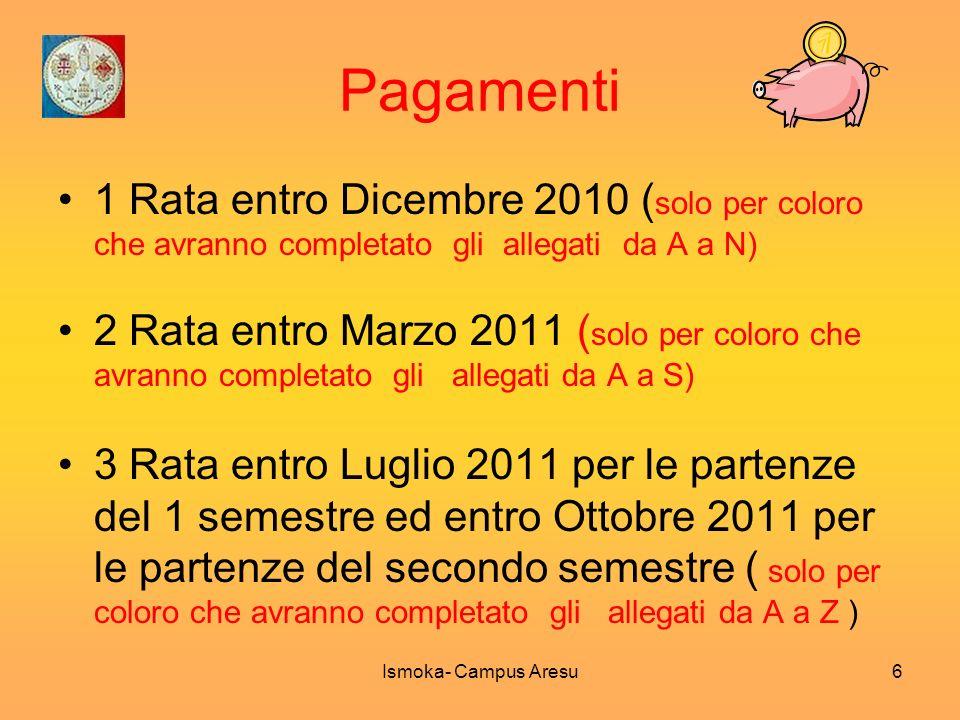 Pagamenti 1 Rata entro Dicembre 2010 ( solo per coloro che avranno completato gli allegati da A a N) 2 Rata entro Marzo 2011 ( solo per coloro che avr